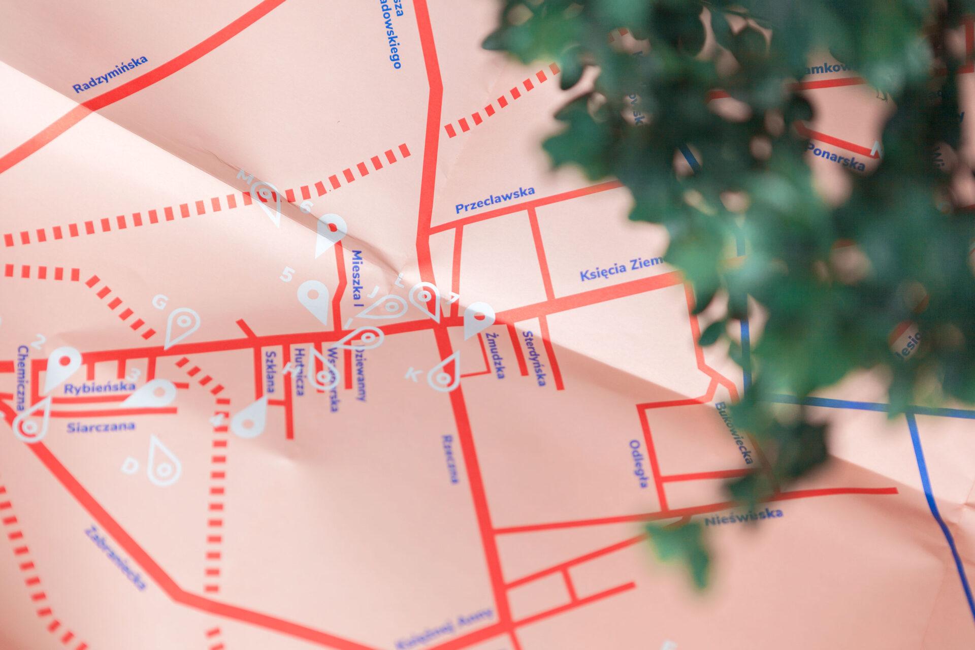 Mapa szlaku turystycznego na Targówku